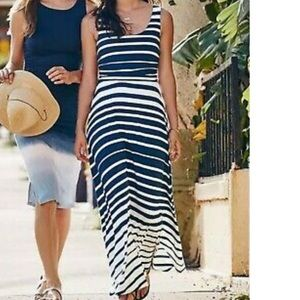 Athleta blue and white striped maxi dress